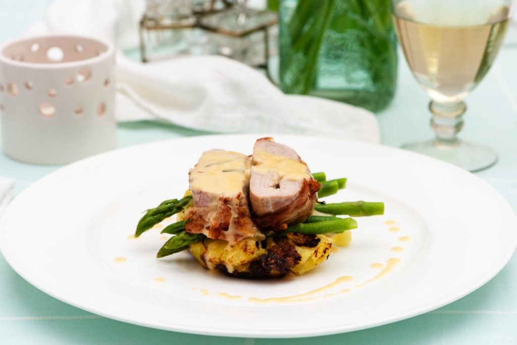Pork Fillet with Doddington Dairy''s Capability Brown.