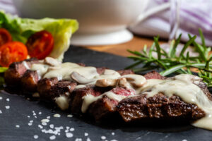 Darling Blue Cheese Sauce with Steak and Chunky Chips - Doddington Dairy - Photography by Sue Todd Photography